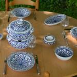 Service couscoussier assiettes Tebsis Bakir bleu - 8 pers