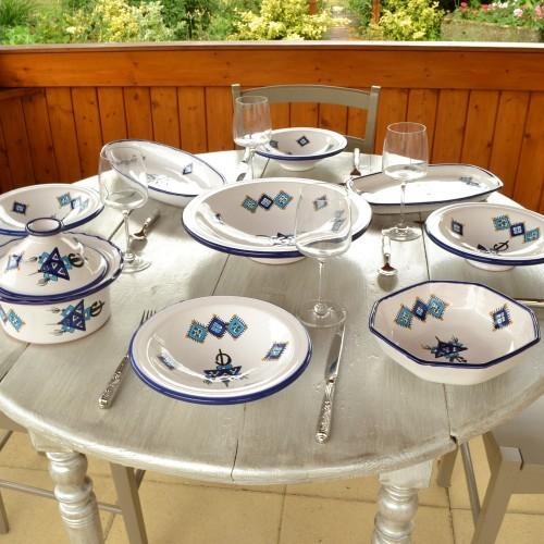 Service à couscous assiettes Tebsi Sahel bleu - 8 pers