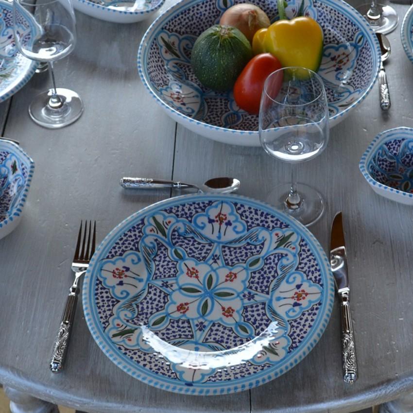 Assiette à entrée ou dessert Marocain turquoise - D 20 cm