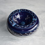 Cendrier marocain Tatoué bleu nuit - Grand modèle