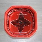 Plat octogonal Tatoué rouge - L 10 cm