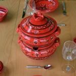 Couscoussier Tatoué rouge - Grand modèle