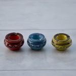 Lot 3 mini cendriers Tatoué Rouge, Vert et Bleu