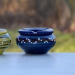 Lot 3 cendriers anti fumée orange, vert anis et bleu fonçé - Mini modèle