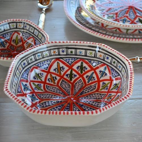 Plat octogonal Bakir rouge - L 25 cm