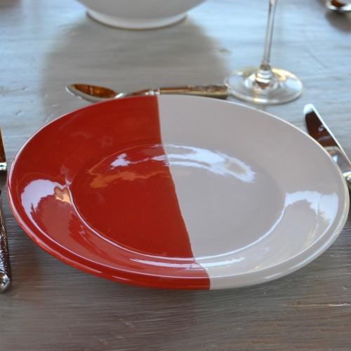 Lot de 6 assiettes plates Kerouan rouge et blanc - D 24 cm