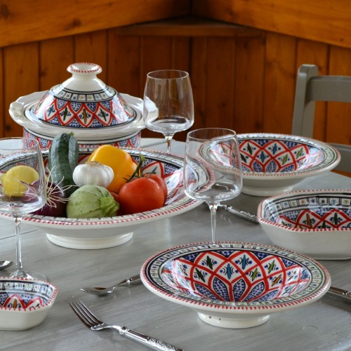 Service à couscous assiettes Tebsi Bakir rouge - 6 pers