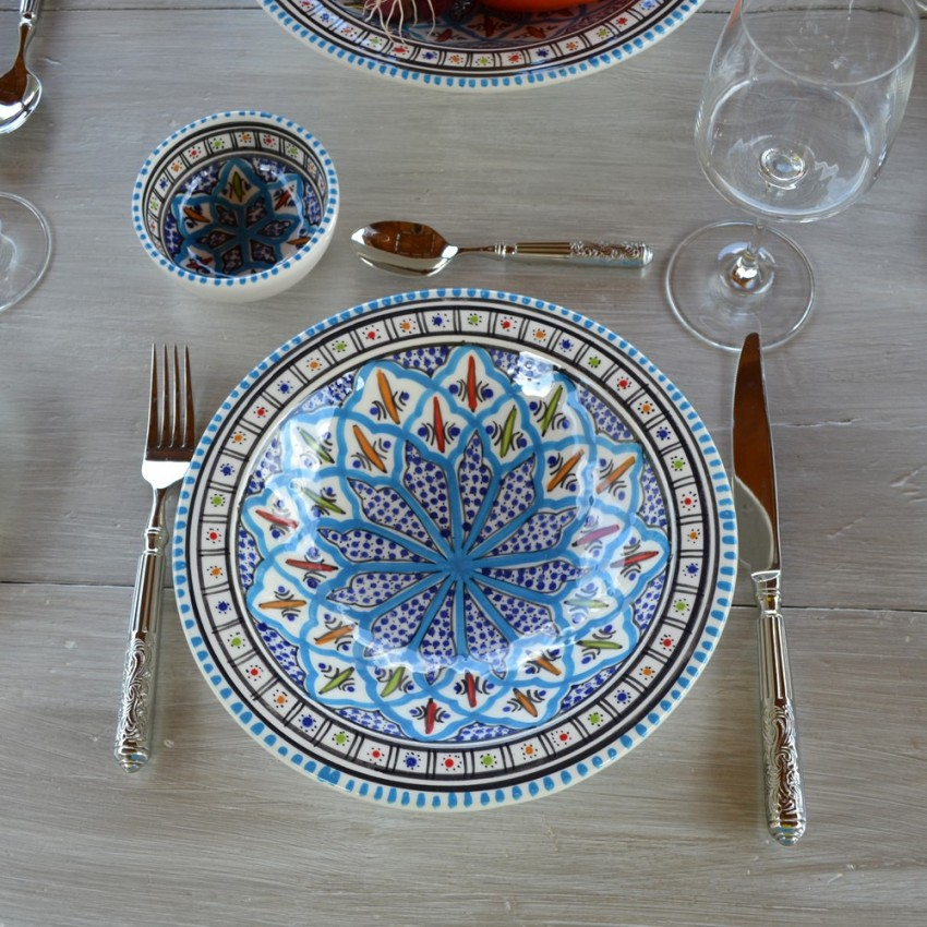 Assiette creuse traditionnelle Bakir turquoise - D 23 cm
