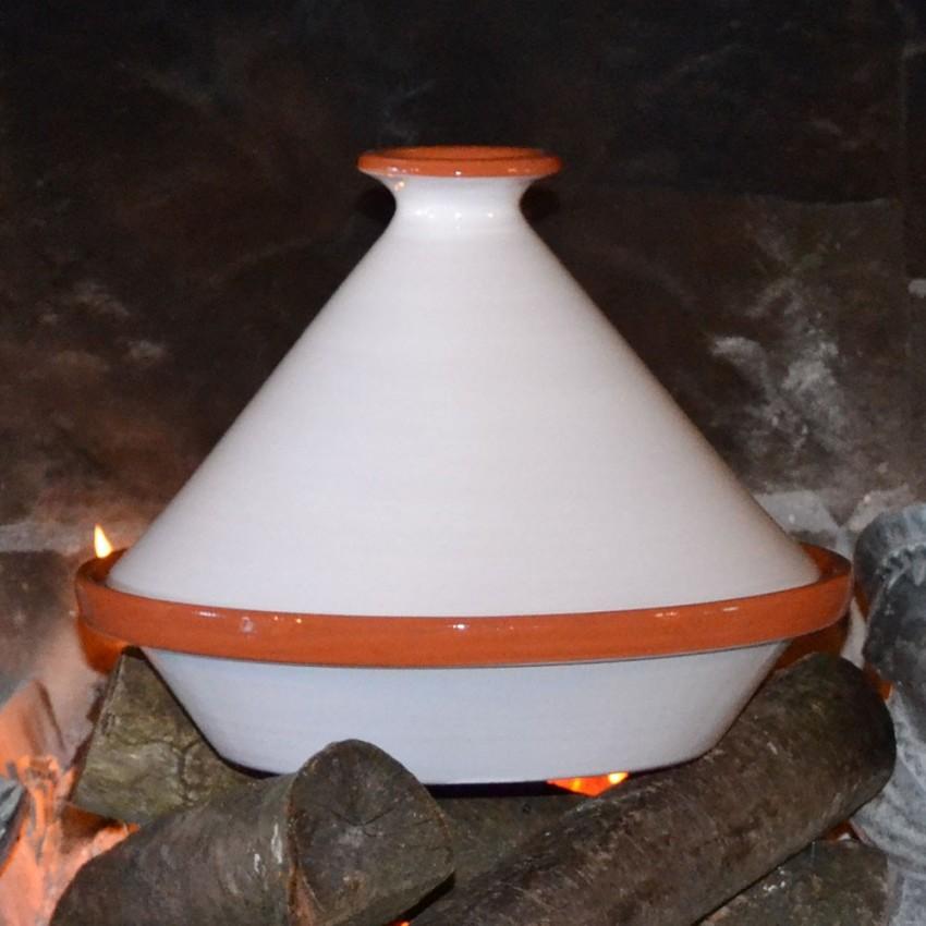 Tajine Spécial Feu Blanc - D 27 cm