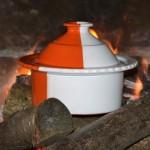 Cocotte Querouana Blanche et Orange - D 20 cm