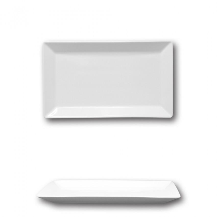 Plat rectangulaire porcelaine blanche - L 26 cm - Kimi
