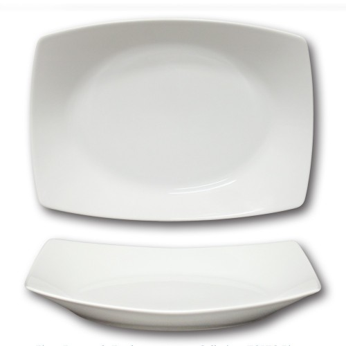 Plat rectangulaire creux porcelaine blanche - L 34 cm - Tokio