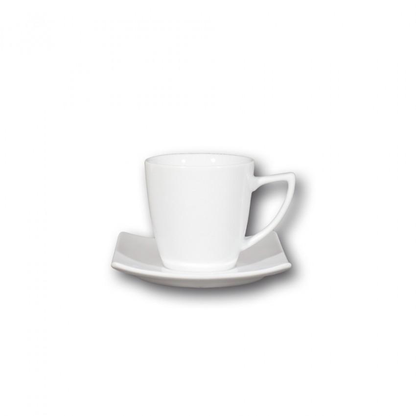 Service à café 4 grandes tasses porcelaine blanche - Tokio