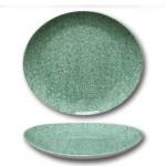 Assiette à steak porcelaine colorée - D 30,5 cm - Moucheté vert