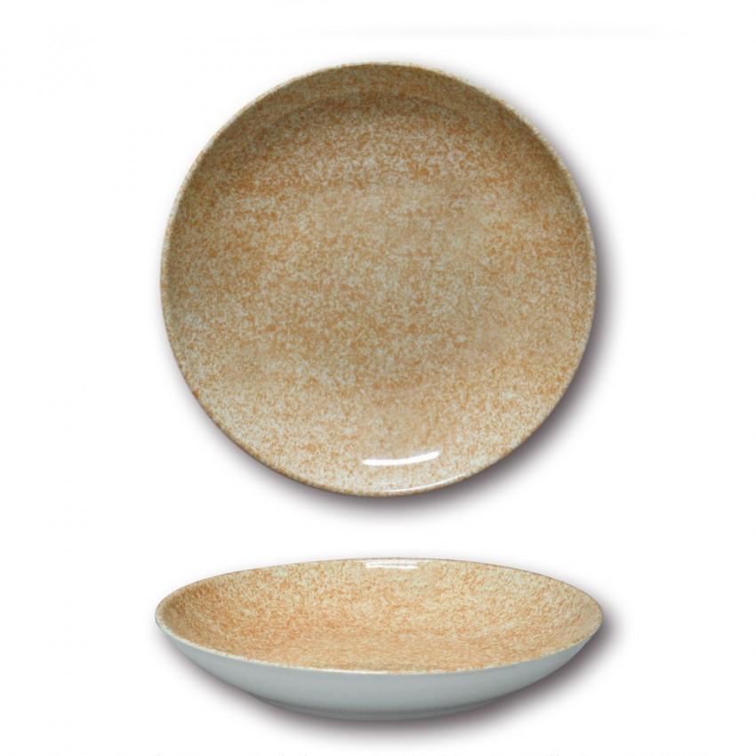 Assiette à couscous porcelaine colorée - D 26 cm - Moucheté beige