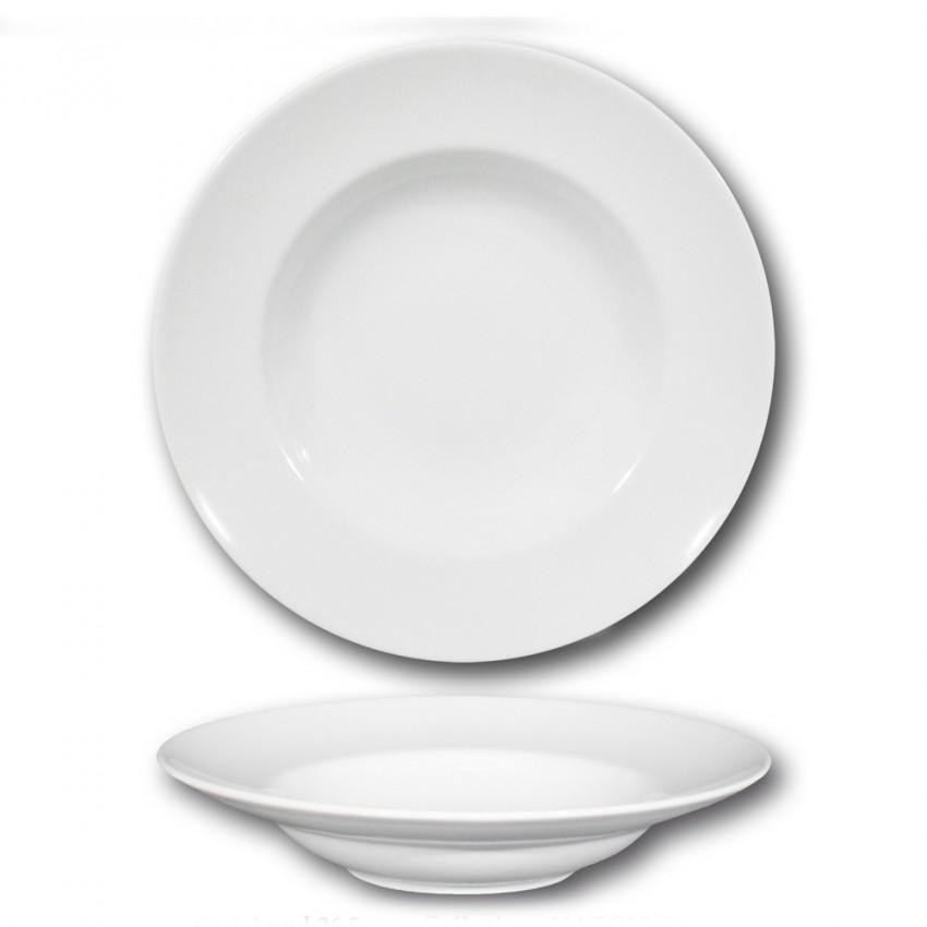 Lot de 6 assiettes à pâtes porcelaine blanche - D 26 cm - Napoli