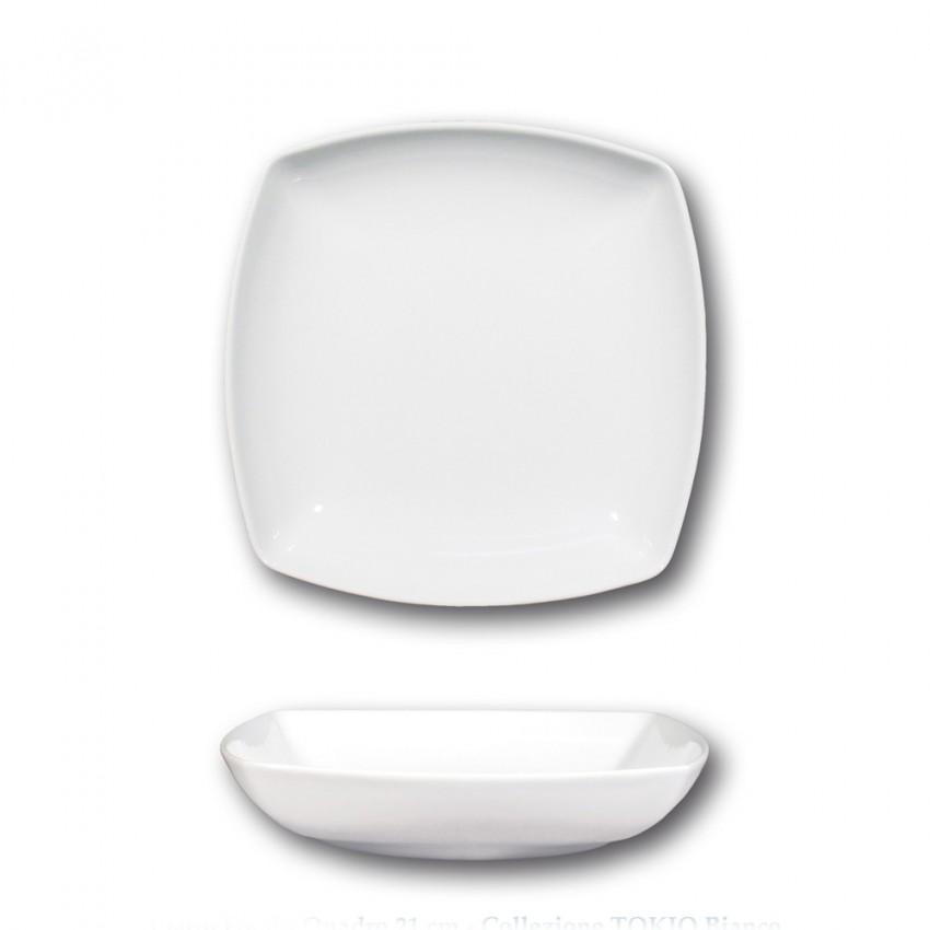 Lot 6 assiettes creuses porcelaine blanche - L 21 cm - Tokio
