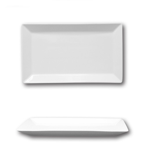 Plat rectangulaire porcelaine blanche - L 29 cm - Kimi