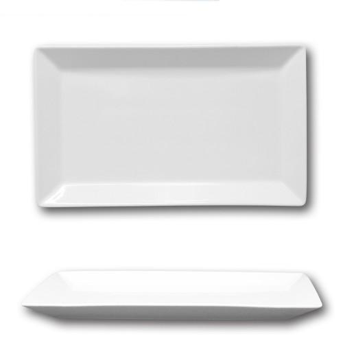 Plat rectangulaire porcelaine blanche - L 33 cm - Kimi