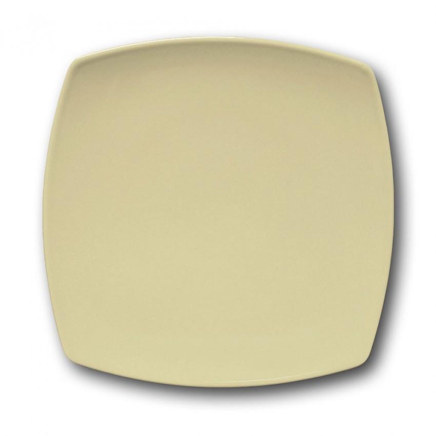 Lot de 6 assiettes plates carrées couleur Crème - L 26 cm - Tokio