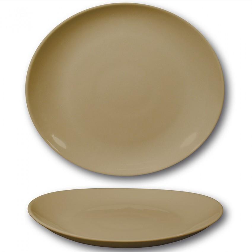 Assiette à steak porcelaine couleur tabac- D 30,5 cm - Tivoli