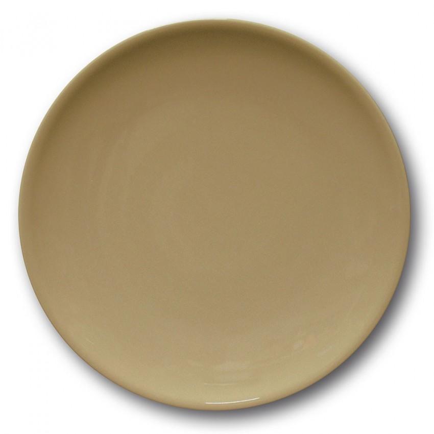 Lot de 6 assiettes plates porcelaine couleur Marron - D 28 cm - Siviglia