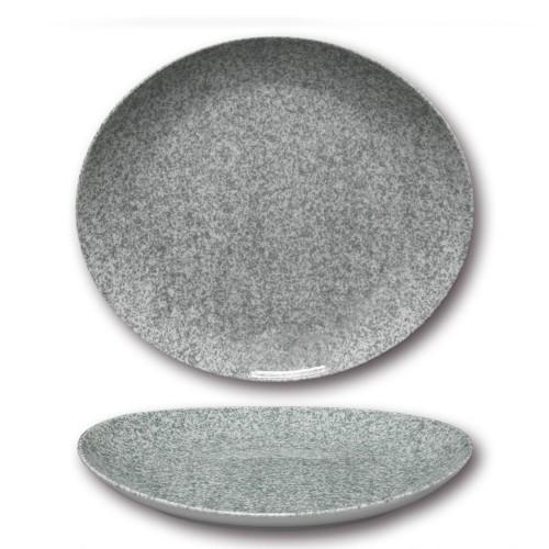 Lot 6 assiettes à steak - D 30,5 cm - Moucheté gris